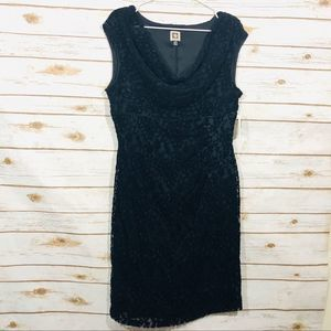 Anne Klein women's black cow neck sleeveless dress